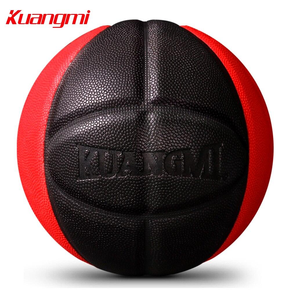 Kuangmi basket-Ball PU cuir jeu de formation balle intérieur extérieur taille 7 gratuit avec filet sac + aiguille