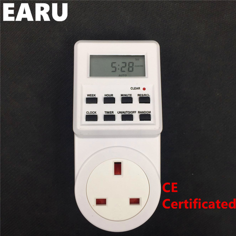 Free Shipping 1pc Time Switch Relay Timer Eletronic Microcomputer Programmable with UK EU US Socket Plug free shipping new h3cr a8 multifunction timer time relay with 8 pin socket multi functional timer 100 220vac dc