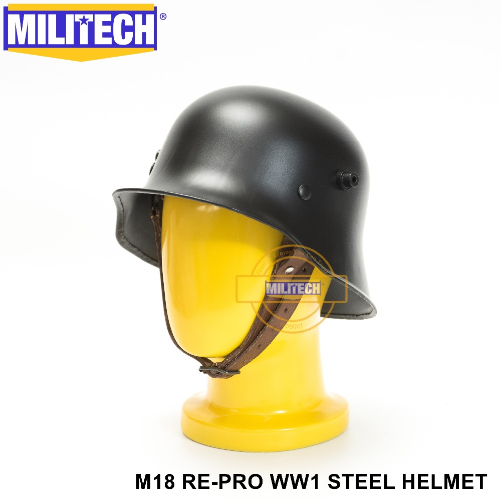 MILITECH World War One Black German M18 Helmet Black M18 German Repro Safety Helmet The Great War Black German Helmet