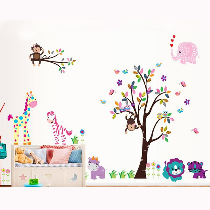 2 pcs/set new design DF5099 OWL TREE AND ANIMALS kids wall <font><b>stickers</b></font> removale 3d nursery wall decals for <font><b>children</b></font> room