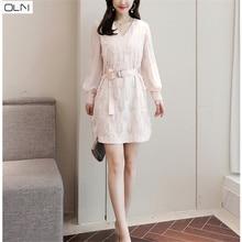 dress Korean OLN new arrival wholesale vestidos summer Japanese womens fashion tassel V-neck belt