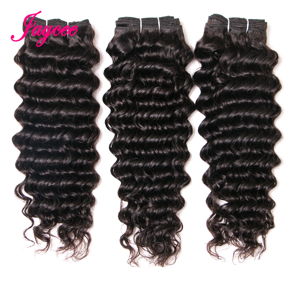 Jaycee Hair Malaysia Deep Wave Natural Color Remy Hair 100% Human Hair Weave Bundles Extension Suitable Dying All Colors