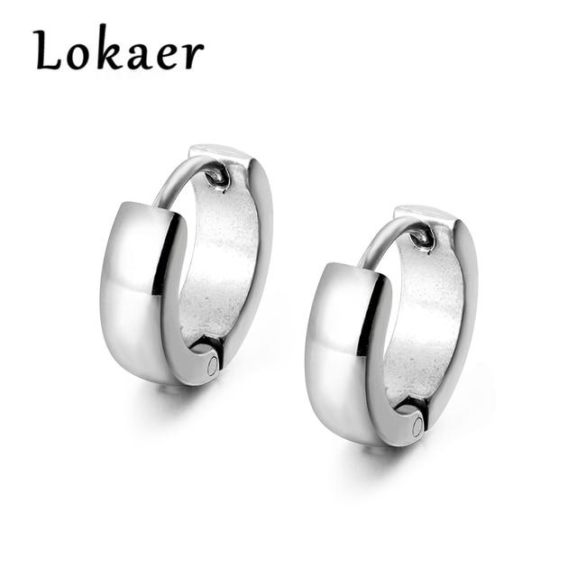 0496aa53baa Lokaer Fashion Stainless Steel Hoop Earrings For Men Women Gift Punk Design White  Gold Color Earrings
