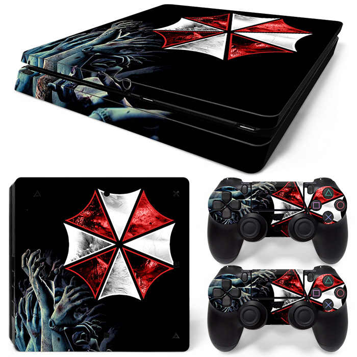 New Decals for Umbrella Protective Vinyl sticker for PS4 slim skin console + 2 controller skin covers  #TN-P4Slim-1507