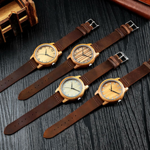 Hot Sale Wooden Clock Bamboo Case Genuine Leather strap For Men Women Japan MIYOTA2035Quartz Wristwatch Couple Watches With Box