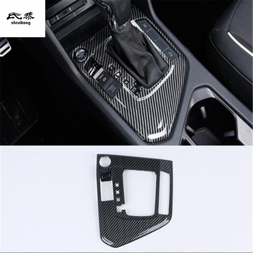 Free shipping 1pc ABS carbon fiber grain gear pedal decation cover for 2017 2018 Volkswagen VW Tiguan MK2 Tiguan L