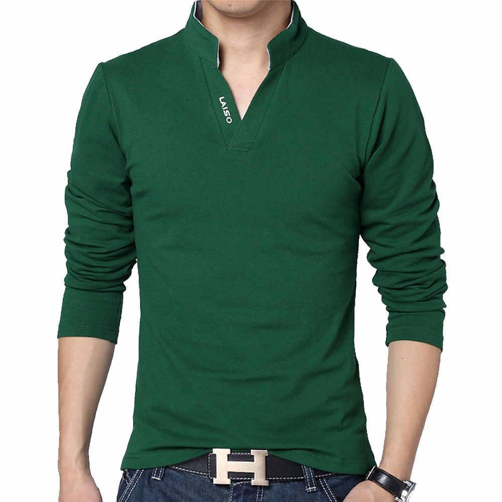 28e060bc416 ... Venta caliente nuevo 2019 marca de moda hombres polo camisa de Color  sólido de manga larga ...