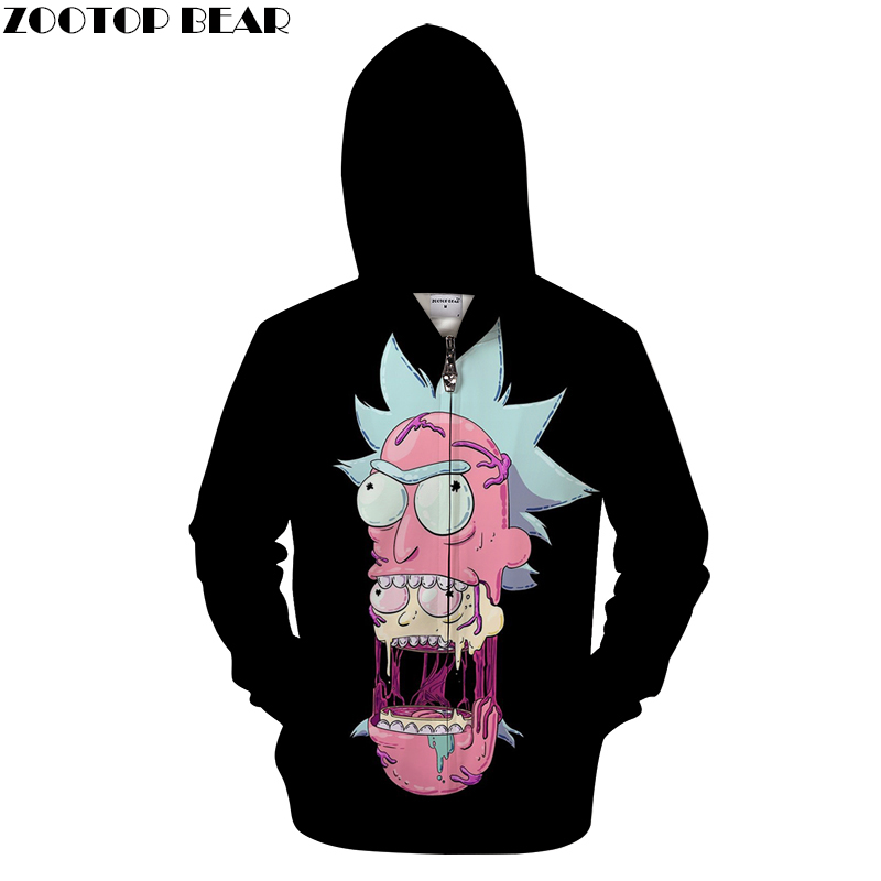 Black Hoodies Mens Zip Sweatshirt Rick and Morty Hoodie 3D Zipper Pullover Funny Hoody Anime Tracksuit 2018 DropShip Asian size