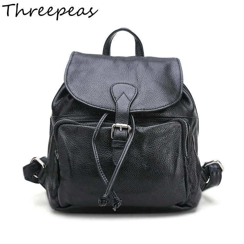 THREEPEAS Vintage Fashion Casual Genuine Leather Women Bucket Backpacks Small Cover Drawstring Backpack School Bag Ladies Bags hot sale women s backpack the oil wax of cowhide leather backpack women casual gentlewoman small bags genuine leather school bag
