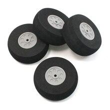 4 Pcs Gray Plastic Hub Black Foam Wheel 55mm Dia for RC Aircraft Model Toy