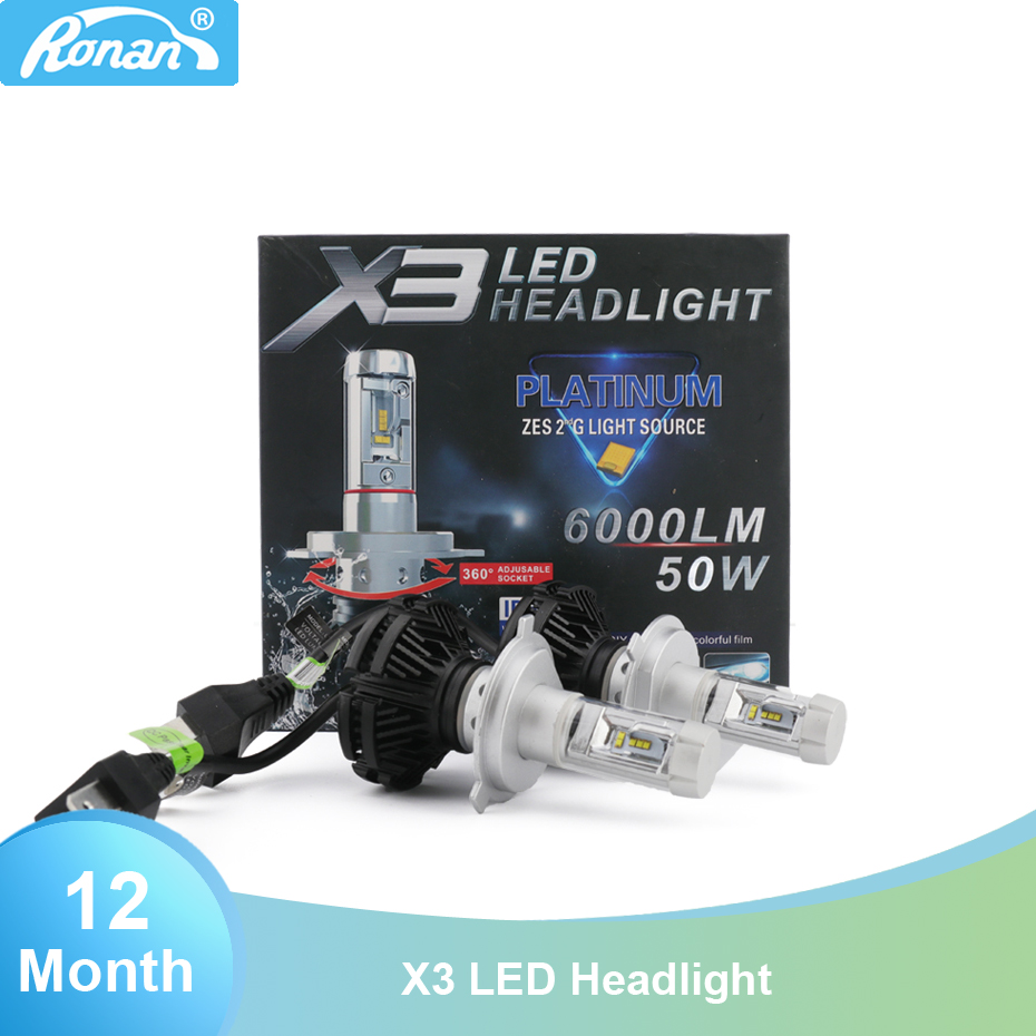 X3 <font><b>LED</b></font> car <font><b>headlight</b></font> H1 <font><b>H4</b></font> H7 <font><b>6000lm</b></font> 50W bulb for car retrofit image