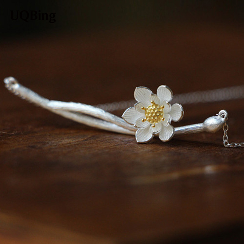 Drop Shipping 925 Sterling Silver Necklaces Lotus Flower With Gold-color Pendants&Necklaces Jewelry Collar Colar de Plata