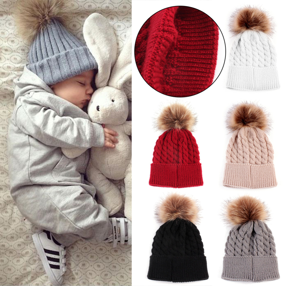 Ξ2018ベビー帽子かわいい毛皮のボールpompom帽子子供の冬ニットウール