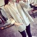 Kesebi 2016 Otoño e Invierno Nuevas Mujeres Gruesa Caliente A-line Cardigans Sueltos Suéteres de Gran Tamaño Mujer de Manga Larga de Un Solo Pecho