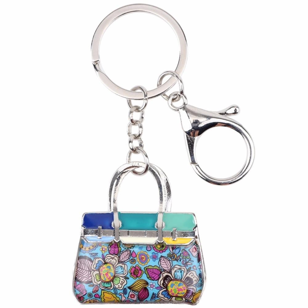 Bonsny emali seos kukallinen käsilaukku avainketju avainniput rengas - Muotikorut - Valokuva 2