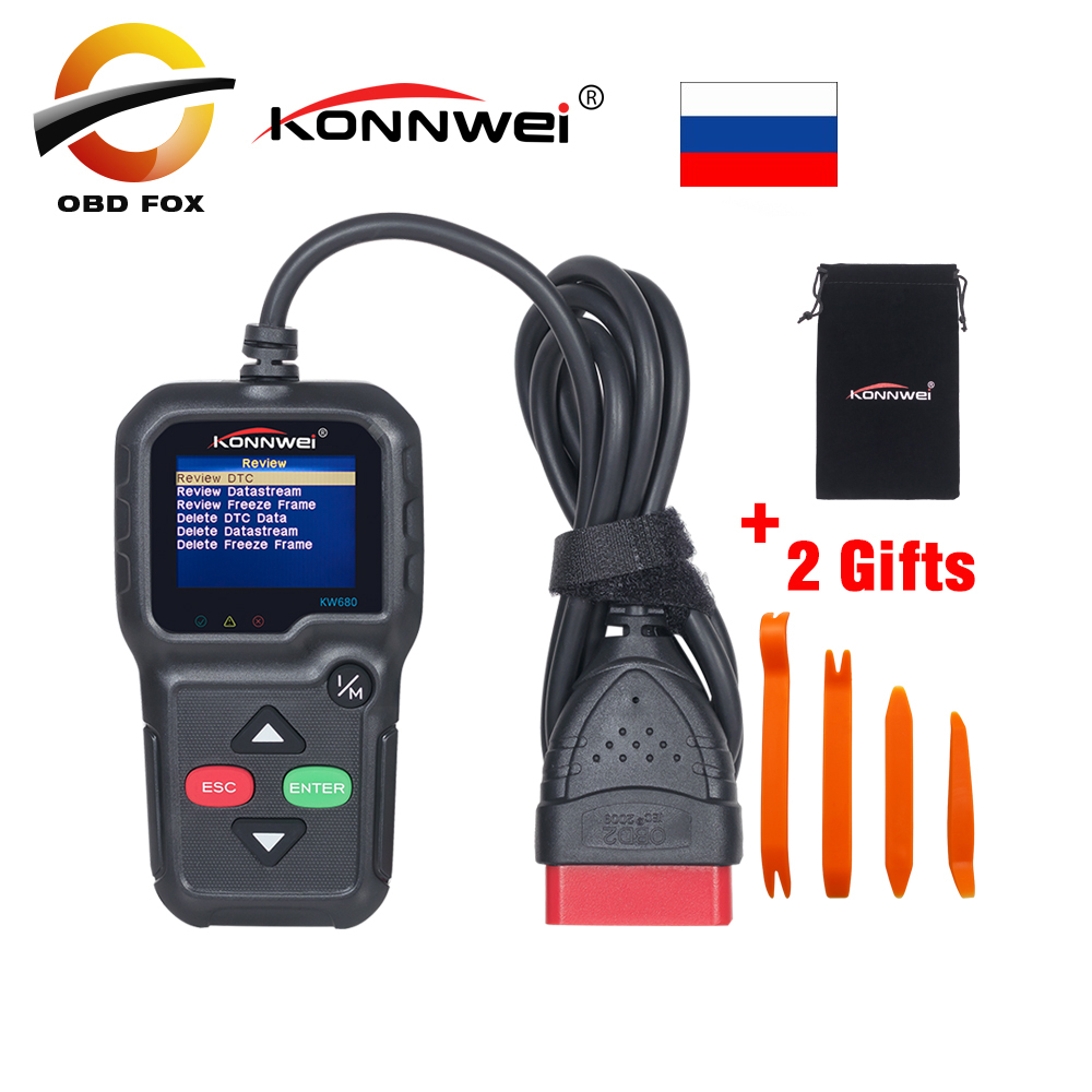 Konnwei KW680 scanner Multi-language obd2 function kw 680 In Russian Gas Diesel