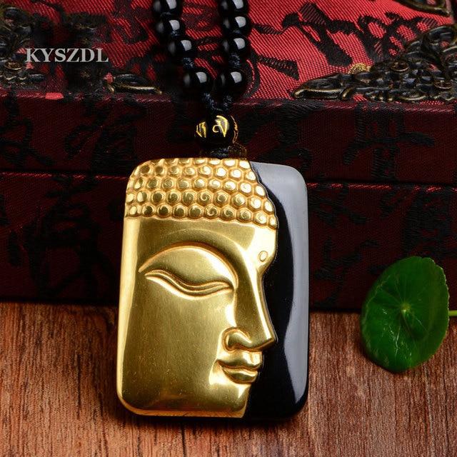 KYSZDL טהור זהב צבע + טבעי השחור Obsidian מגולף בודהה מזל קמע תליון עבור נשים גברים תליוני תכשיטי אבן בסדר