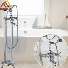 Chrome Floor Stand Bath & Shower Phone Type Faucet Three Handle With Tub Filler Mixer Hot Cold Telephone Style Faucet