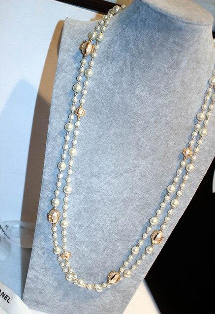37ab35e55d1a Cuentas chian Collares 2017 nueva moda Moda perla elegante clásico doble  capa collar largo diseño regalo
