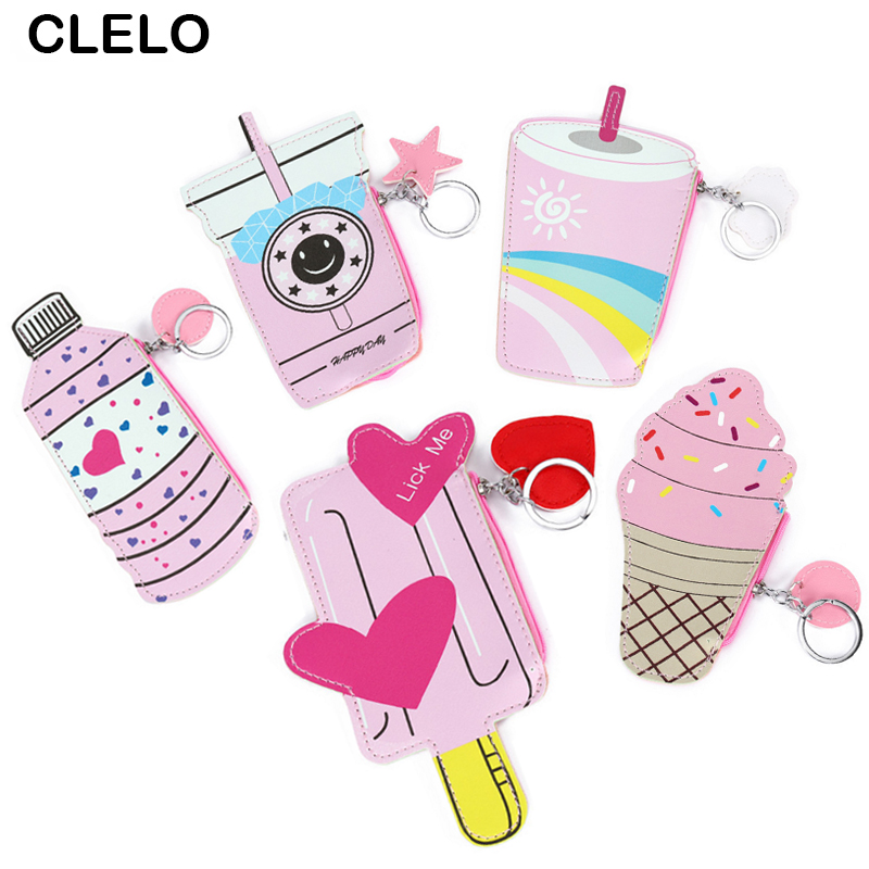 CLELO Funny Leather Wallet Woman Coin Purse Ice popsicle Design Purse Girls Small Bag Key Ring Keychain Change Pouch mini bag