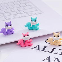 48pc/lot Creative Cartoon Coloured Squirrel horse animal rubber eraser/ stationery for children students/nice gift eraser
