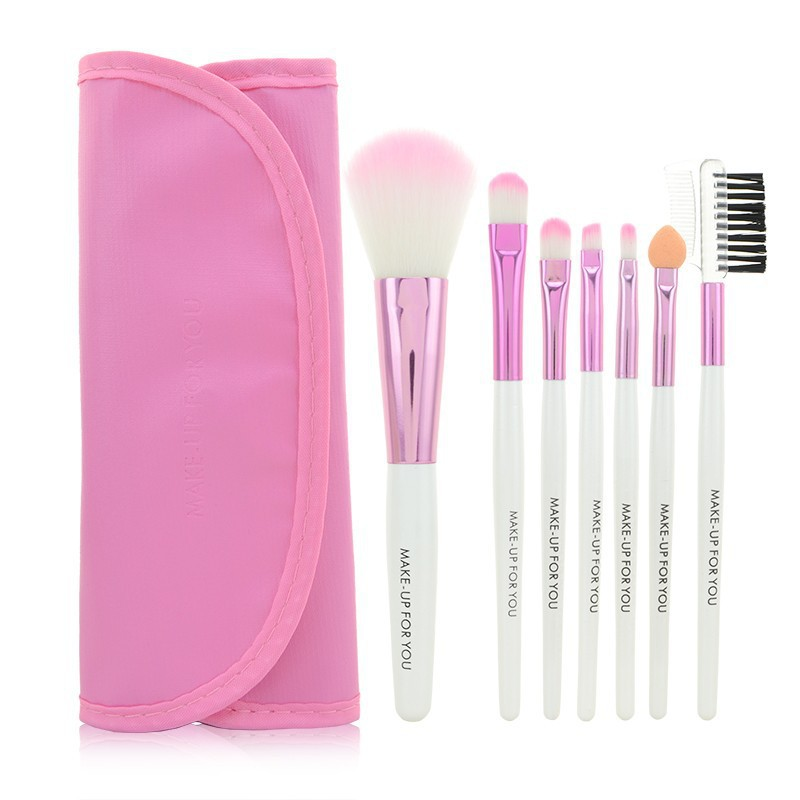 1Set  Professional 7 pcs Pink Makeup Brush Set tools Make-up Toiletry Kit Wool Brand Make Up Brush Set Case Free Shipping hot sale professional 24 pcs makeup brush set tools make up toiletry kit wool brand make up brush set cosmetic brush case