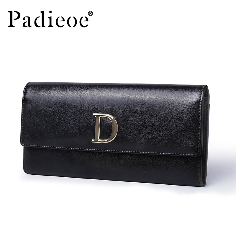 Padieoe 2018 Ladies Leather Long Wallet Women Card Holder Coin Purse Women Hasp Purse Clutch Money Phone Female Black Wallets padieoe women s genuine leather long wallet fashion designer coin purse famous brand clutch bag phone card holder for female