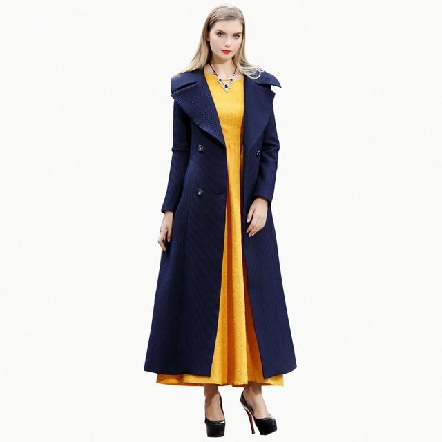 2016 Estilo Europeu Azul Marinho Breasted Notch Lapela Trench Coat Para As Mulheres Maxi Longo Outwear Nova Moda Outono Inverno