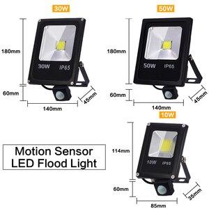 Image 3 - Sensor de movimento 220 v 10 w 30 w 50 led luz de inundação à prova dfocágua ip65 refletor holofote foco conduziu a luz exterior do ponto