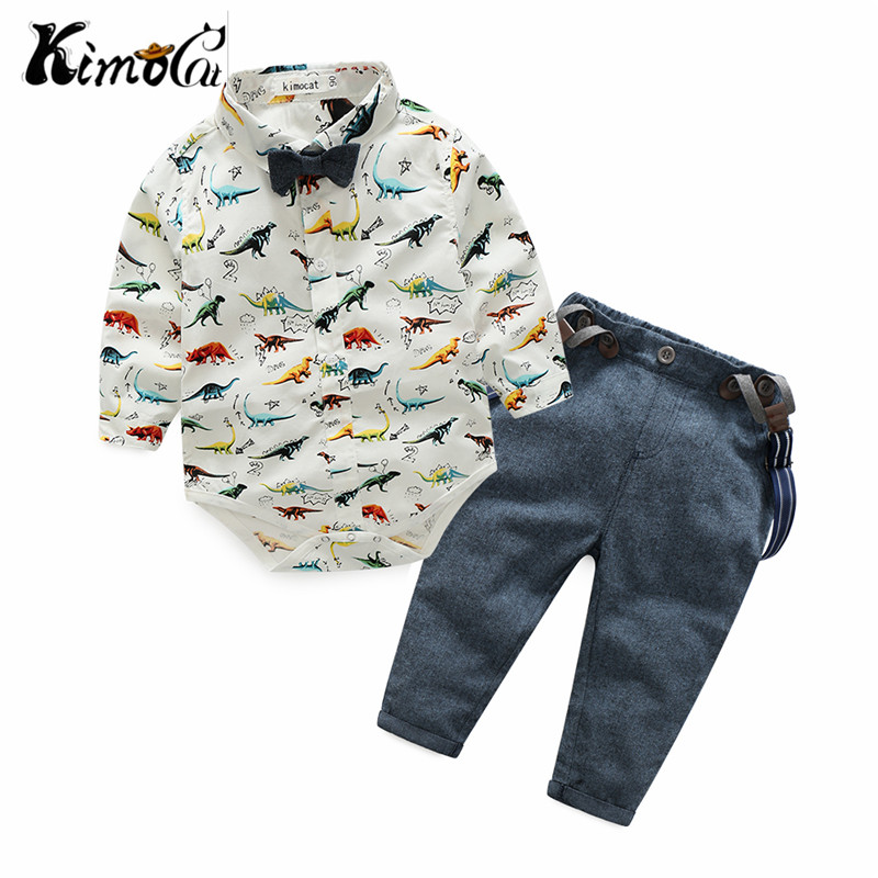 Kimocat new Spring and autumn childrens baby boy long-sleeve dinosaur shirt suspenders suit