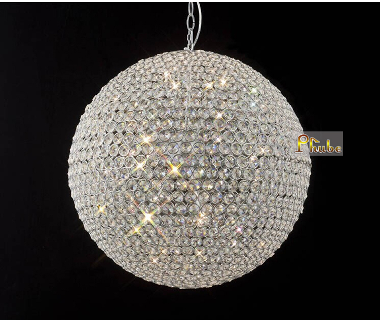 Phube Lighting Modern LED Crystal Pendant Gold/Chrome Pendant Light Crystal Ball Pendant Light Lustre Inc Bulbs Free Shipping egypt imported crystal 8 light pendant lights in ball shape chrome pl1040