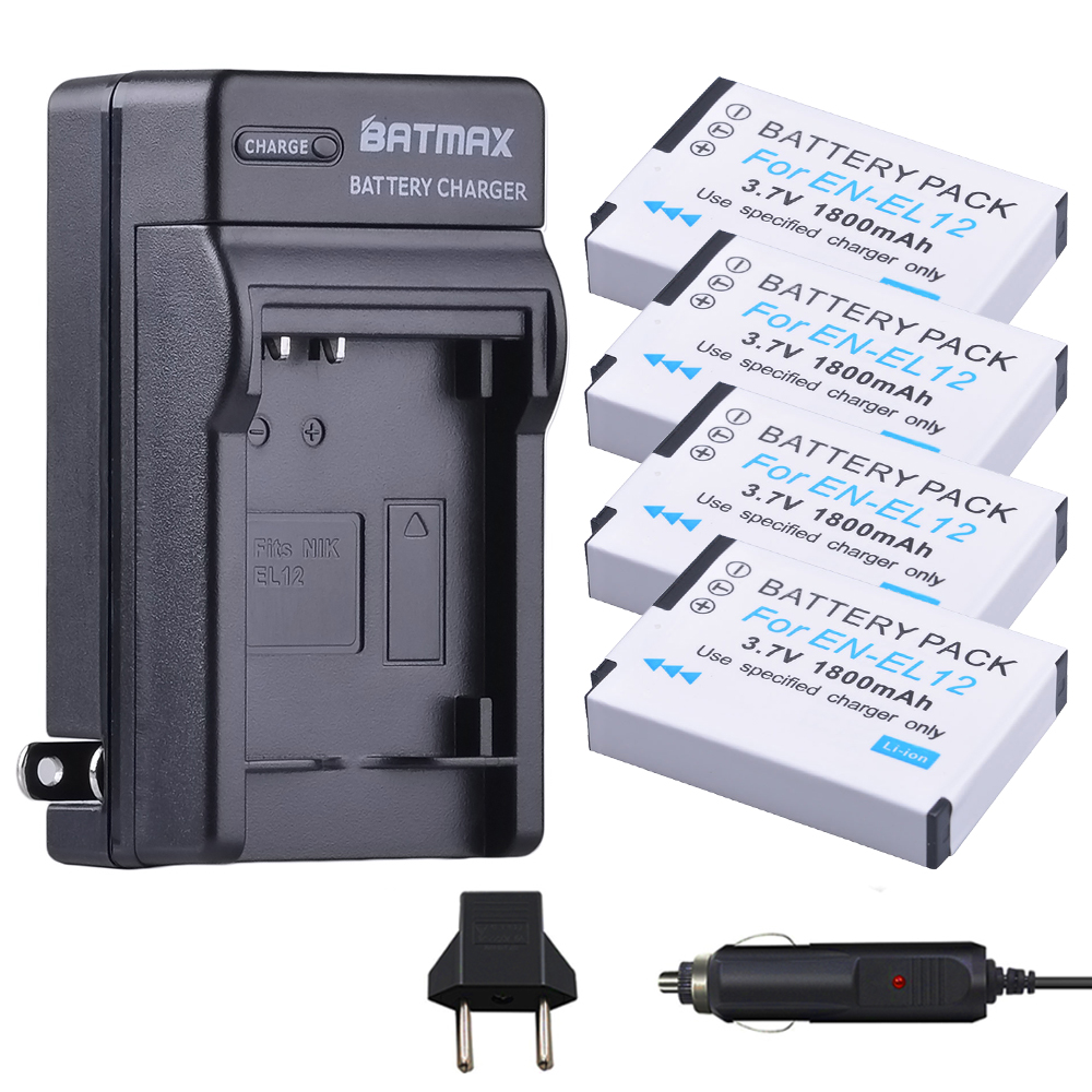 цена на 4Pcs EN-EL12 Battery + Charger Kits for Nikon COOLPIX S9900, A900, W300, S9300 S6300, S9200, AW120, AW130, S9700, KeyMission 360