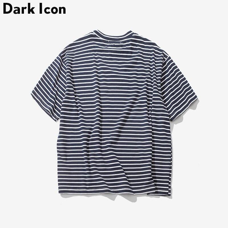 Dark Icon Rose Embroidery Striped Mens T-shirt Short Sleeve 2017 Summer Hi-street Oversized Hip Hop Tshirt Cotton Tee Shirts 1