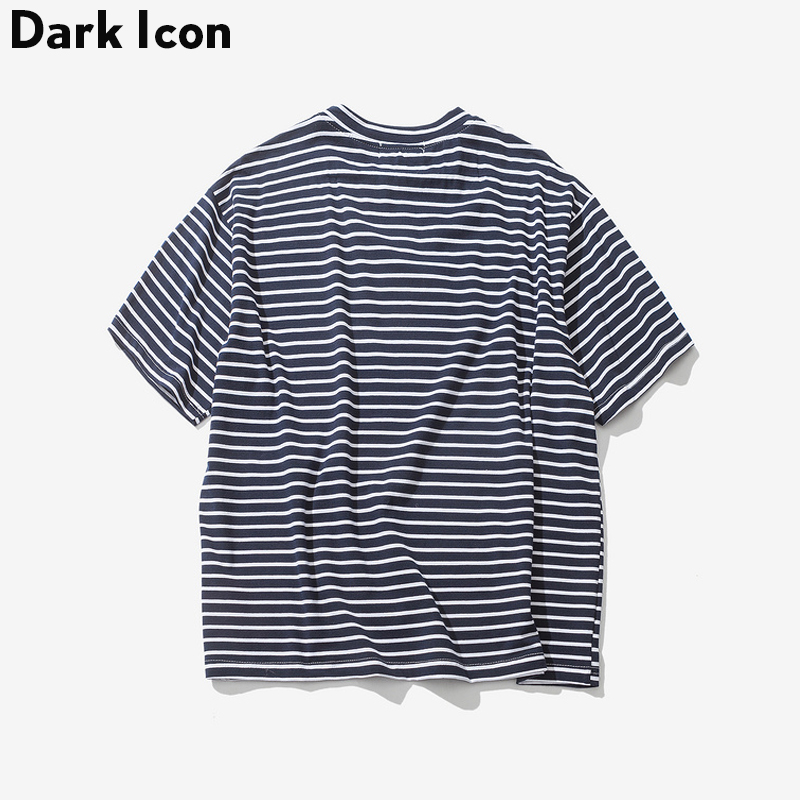 Dark Icon Rose Embroidery Striped Mens T-shirt Short Sleeve 2019 Summer Hi-street Oversized Hip Hop Tshirt Cotton Tee Shirts 1