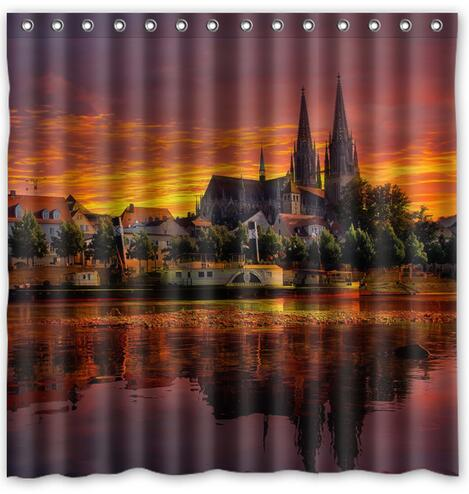 Regensburg Germany Sunset Cityscape Fabric Shower Curtain 180x180cm Waterproof Mildewproof Curtains In From Home Garden On