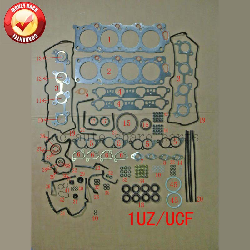 1UZ 1UZFE Engine complete Full gasket set kit for Toyota Majesta/crown Lexus GS 400/LS 400 Lincoln LS 32V 4.0 3969CC 50178000