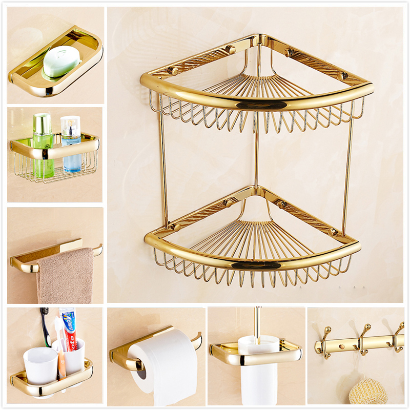 Free Shipping Bathroom Basket Shelf Wall Mounted Golden Bathroom Accessories Toothbrush Holder Paper Rack Towel Bar Hooks free shipping golden wall mounted bathroom corner shelf solid brass storage rack basket