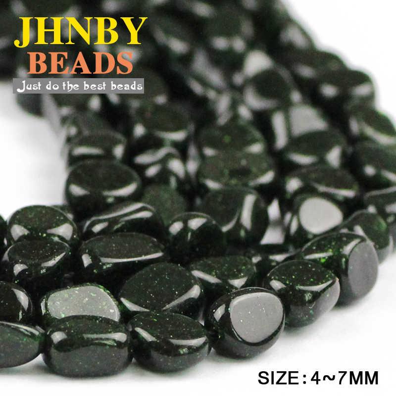 JHNBY ירוק חול אבן חצץ סדיר שבבי Loose חרוזים L: 39cm טבעי אבן תכשיטי צמיד ביצוע DIY אבזרים סיטונאי