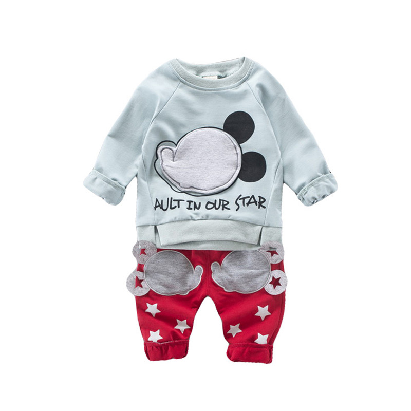 Kids Casual Cartoon Mouse Clothing Sets Baby Boys Girls Cotton Autumn Winter Clothes Children T-Shirt+Pants Suit B0328 2pcs lot us cree cxa 3070 beads 117w high power led chip 2700 3000k 5000 6500k pure white warm white