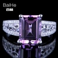 BAIHE Sterling Silver 925 3.24CT Certified Emerald cut Flawless Genuine Amethyst Wedding Women Office/career Elegant unique Ring