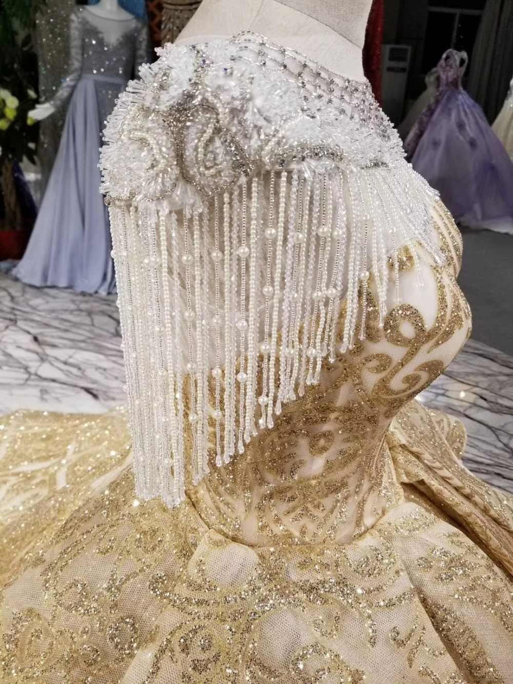 2018 шикарные золотые бальные платья с кисточками Серебристые белые Золотые сверкающие Роскошные свадебные платья
