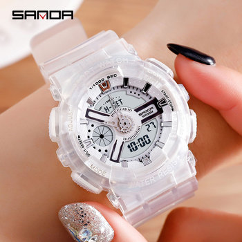 SANDA Top White Women Sports Watches Women Waterproof Ladies Jelly Watches Rosegold Swimming reloj mujer relogio feminino 2019
