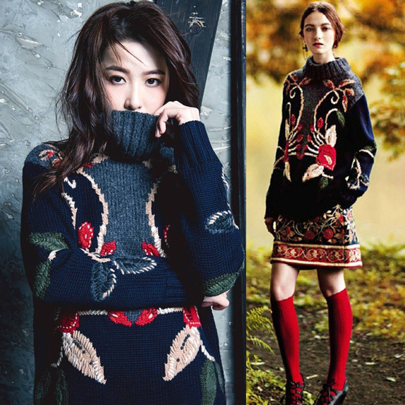 Autumn Winter Retro National Style Women Heavy Industry Embroidery Three-dimensional Plate Flower Turtle Neck Sweater Women