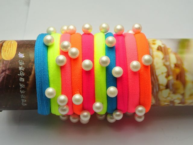 Neon Color Hair Ties with Pearl Studs