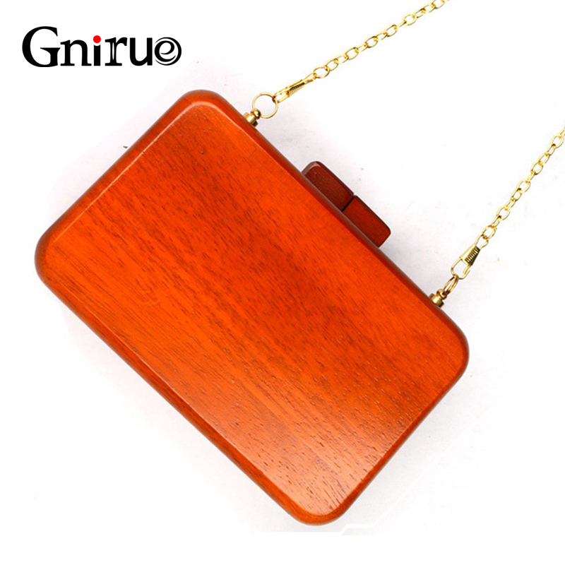 все цены на Fashion Small Wooden Box Women Evening Bag Crossbody Shoulder Bags Day Clutch Wedding Handbag Purse онлайн
