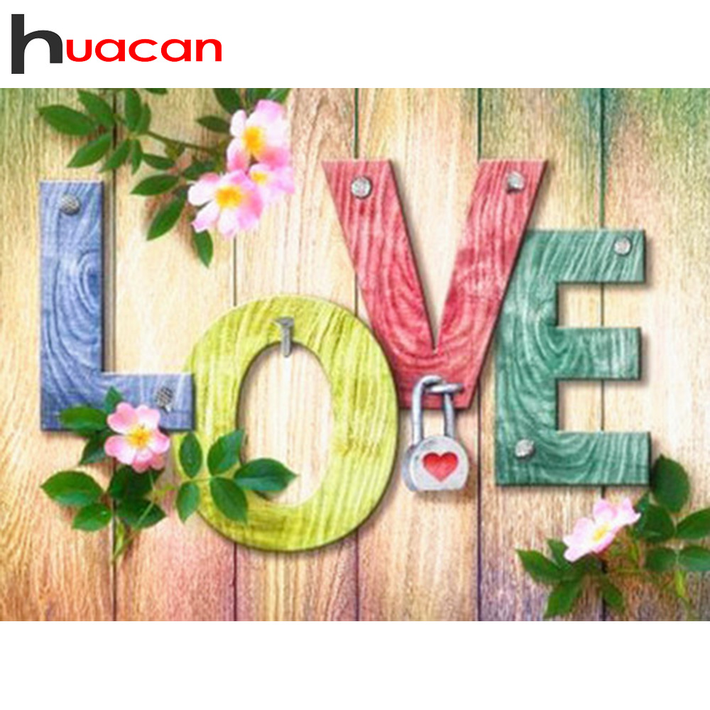 Huacan DIY Diamond Embroidery Complete Kit Love Diamond Painting Full Square Round New Arrival Flower Diamond Art in Diamond Painting Cross Stitch from Home Garden