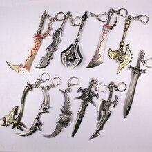 13Styles Movie Game Alliance Figure Weapon Key Chain 12cm Axe Frostmourne Illidan Storm Alloy Sword Keychain Chaveiro