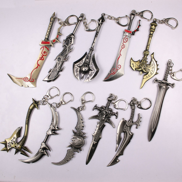 13Styles Movie Game Alliance Figure Weapon Key Chain 12cm Axe Frostmourne Illidan Storm Alloy Sword Keychain Chaveiro