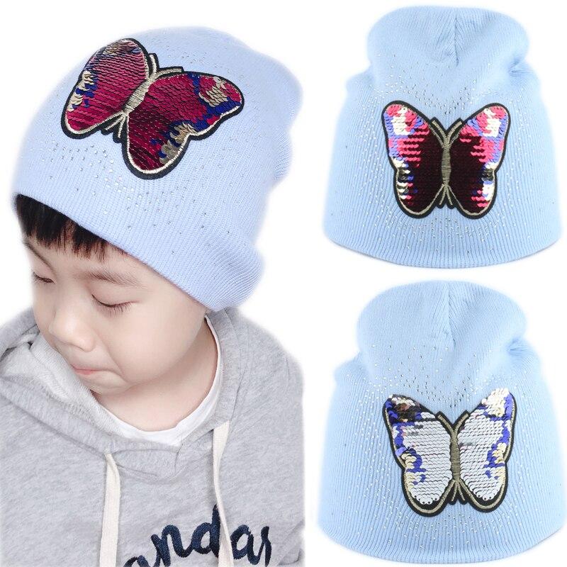 Baby Winter   Beanie   Hat Girls Cartoon Butterfly Sequin Winter Cap Kids Warm Knitted Rhinestone   Skullies     Beanies