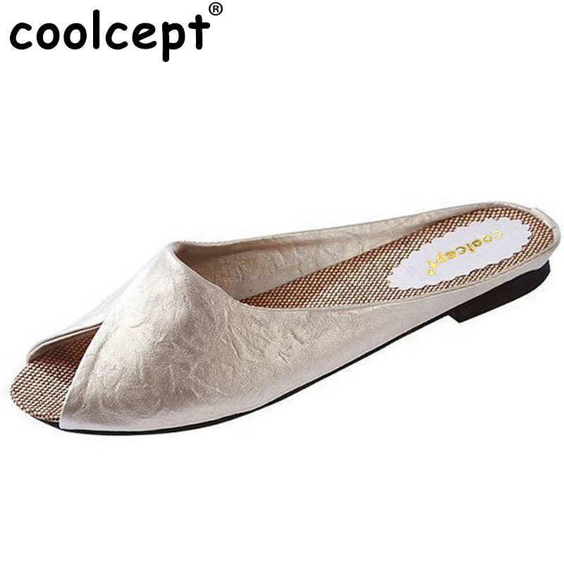 Coolcept The Flip Flops Women Soft Leather Shoes Leopard Print Peep Toe Sandals Women's Slippers Women Flats Plus Size 36-40